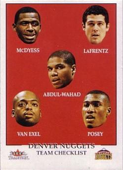 2000-01 Fleer #273 Antonio McDyess/Raef LaFrentz/Tariq Abdul-Wahad/Nick Van Exel/James Posey
