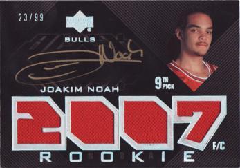 2007-08 UD Black #103 Joakim Noah JSY AU RC