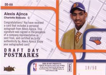 Hot Prospects Draft Day Postmarks #DDAA Alexis Ajinca