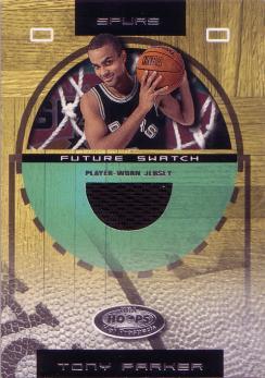 2001-02 Hoops Hot Prospects #108 Tony Parker JSY RC