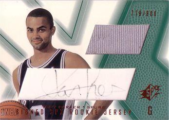 2001-02 SPx #91B Tony Parker JSY AU RC