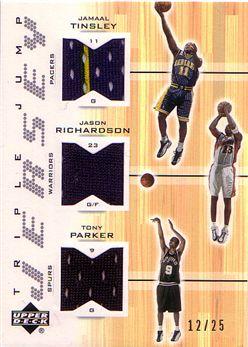 2001-02 Upper Deck Triple Jump Jerseys #JTJRTP Jamaal Tinsley/Jason Richardson/Tony Parker
