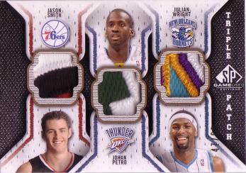 2009-10 SP Game Used Triple Patch #TPPSW Julian Wright/Jason Smith/Johan Petro