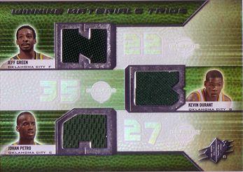 2008-09 SPx Winning Materials Trios #WMTPDG Jeff Green/Kevin Durant/Johan Petro