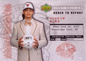 2007-08 Upper Deck First Edition Draft Notices #DN9 Joakim Noah