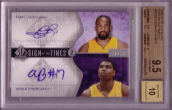 2006-07 SP Authentic Sign of the Times Dual #SDTB Ronny Turiaf/15/Andrew Bynum