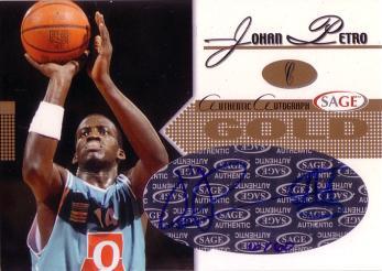 2005 SAGE Autographs Gold #A18 Johan Petro/60