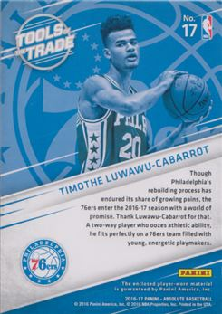 2016-17 Absolute Memorabilia Tools of the Trade Rookie Materials Jumbo Patch #17 Timothe Luwawu-Cabarrot
