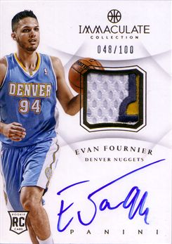 2012-13 Immaculate Collection Patch Autographs #EF Evan Fournier/100