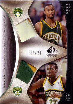 2006-07 SP Game Used Authentic Fabrics Dual Patches #LP Rashard Lewis/Johan Petro
