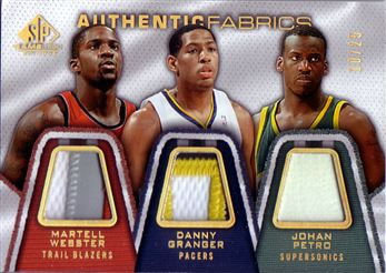 2007-08 SP Game Used Authentic Fabrics Triple Patch #WGP Martell Webster/Danny Granger/Johan Petro