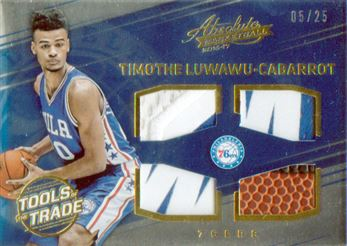 2016-17 Absolute Memorabilia Tools of the Trade Rookie Materials Quad Prime #17 Timothe Luwawu-Cabarrot