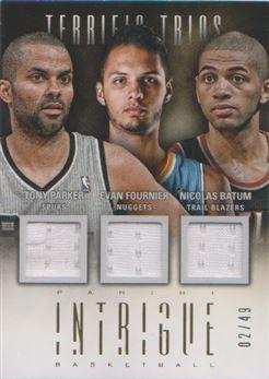 2012-13 Panini Intrigue Terrific Trios Jerseys #15 Evan Fournier/Nicolas Batum/Tony Parker/49