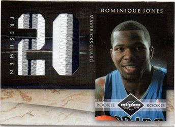 2010-11 Limited Freshmen Jumbo Jersey Numbers Prime #25 Dominique Jones/25