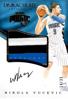 2016-17 Immaculate Collection Premium Patch Autographs #34 Nikola Vucevic/35