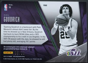 5420cd6c9af 2013-14 Panini Spectra Hall of Fame Jersey Autographs Gold  11 Gail Goodrich