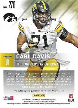 2015 Panini Contenders Draft Picks #270 Carl DAVIS (ncaa iowa) Rookie Card AUTO $6.00