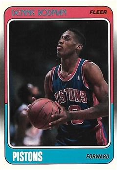 1988-89 Fleer #43 Dennis RODMAN (pistons) Rookie Card $60.00