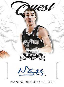 2012-13 Panini Crusade Quest Autographs #10 Nando DE COLO (spurs) AUTO $8.00