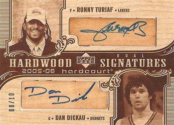 2005-06 Upper Deck Hardcourt Hardwood Signatures Dual #TD Ronny TURIAF (lakers) / Dan DICKAU (hornets) 08/10 AUTO n/a