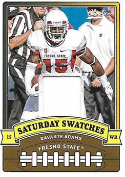 2018 Classics Saturday Swatches #13 Davante ADAMS (ncaa fresno state / packers) WORM-MATERIAL (white)