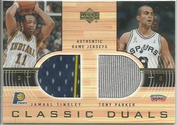 2001-02 Upper Deck Classic Duals Jerseys #JT/TP Jamaal Tinsley/Tony Parker