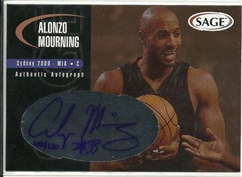 2000 SAGE Autographs Bronze #A37 Alonzo Mourning /130