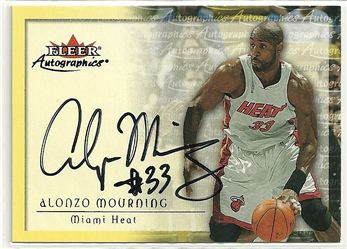 2000-01 Fleer Autographics #42 Alonzo Mourning
