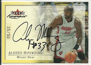2000-01 Fleer Autographics Gold #52 Alonzo Mourning	/50