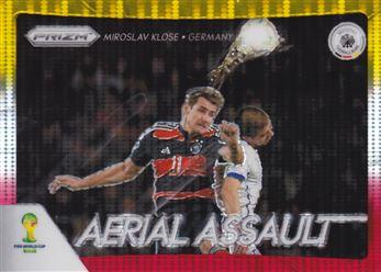 2014 Panini Prizm World Cup Aerial Assault Prizms Yellow Red Pulsar #2 Miroslav Klose
