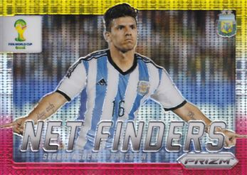 2014 Panini Prizm World Cup Net Finders Prizms Yellow and Red Pulsar #3 Sergio Aguero