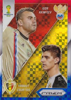 2014 Panini Prizm World Cup World Cup Matchups Prizms Red White and Blue #18 Igor Akinfeev/Thibaut Courtois