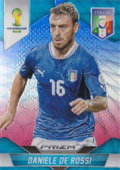 2014 Panini Prizm World Cup Prizms Blue and Red Wave #127 Daniele De Rossi