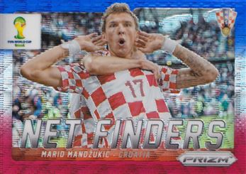 2014 Panini Prizm World Cup Net Finders Prizms Blue and Red Wave #15 Mario Mandzukic