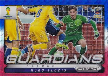 2014 Panini Prizm World Cup Guardians Prizms Blue and Red Wave #11 Hugo Lloris