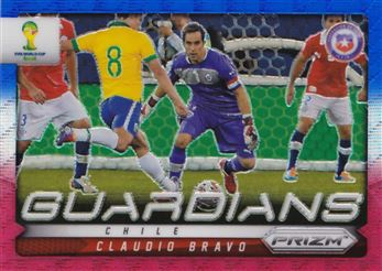 2014 Panini Prizm World Cup Guardians Prizms Blue and Red Wave #7 Claudio Bravo