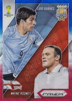 2014 Panini Prizm World Cup World Cup Matchups Prizms Blue and Red Wave #9 Luis Suarez/Wayne Rooney