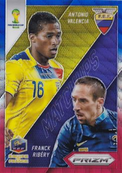 2014 Panini Prizm World Cup World Cup Matchups Prizms Blue and Red Wave #11 Antonio Valencia/Franck Ribery