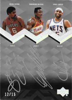 2007-08 UD Black Triple Sigs Julius Erving / Dominique Wilkins / Vince Carter