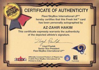 2000 Fleer Autographs Silver Az-Zahir Hakim