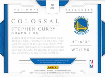 2016-17 National Treasures Colossal Stephen Curry
