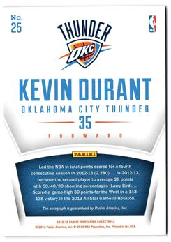 2012-13 Innovation Innovative Ink #25 Kevin Durant
