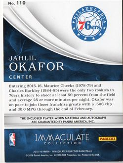 2015-16 Immaculate Collection #110 Jahlil Okafor JSY AU/99 RC