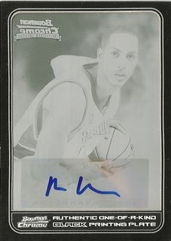 2006-07 Bowman Chrome Press Plates Black #137 Ryan Hollins AU /1