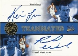 Dual - 2008 Press Pass Teammates Autographs #TAKLRW Kevin Love Russell Westbrook #ed 20/25