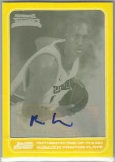 2006-07 Bowman Chrome Printing Plate Yellow Ryan Hollins AU /1 137