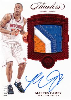 2016-17 Panini Flawless Distinguished Patch Autographs Ruby #19 Marcus Camby