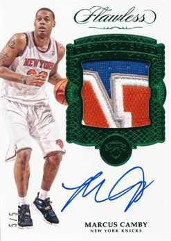2016-17 Panini Flawless Distinguished Patch Autographs Emerald #19 Marcus Camby