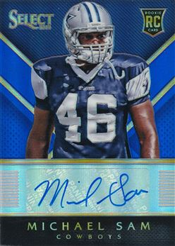 2014 Select Rookie Autographs Prizm Blue #RAMS Michael Sam