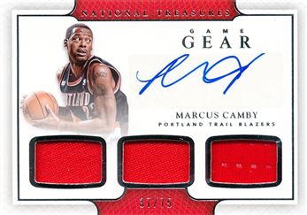 2016-17 Panini National Treasures Game Gear Triple Jersey Autographs #12 Marcus Camby